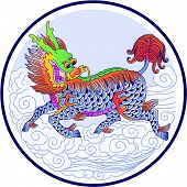 Chinese Unicorn in chinese drawing style (vector version) poster