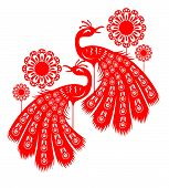 Two Peacock in Chinese Paper Cut design. poster