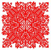 Chinese Paper Cut of Tiger in symmetrical form. poster