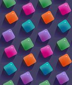 Gemstones Abstract Seamless Pattern.  Colorful Transparent Jelly Cubes Motif Background. Trendy Styl