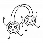 headset audio device kawaii character vector illustration design poster