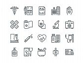 Medical and Healthcare. Set of outline vector icons. Includes such as Emergency, Heartbeat, Medical equipment and other poster