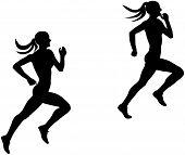 two slender female runner athlete running silhouette black poster