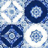 Set of abstract watercolor royal blue filigree seamless pattern moroccan tiling ornament. Delicate cobalt blue openwork lace pattern. Indigo revival design renaissance navy blue background. poster