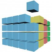 A cube rises up from rows and stacks of 3D cubes, boxes, or cartons in colors as a puzzle solution. poster