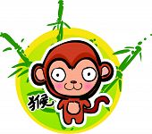 Cartoon Chinese Zodiac - Monkey and bamboo background poster