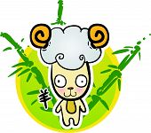 Cartoon Chinese Zodiac - Goat and bamboo background poster