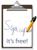 Clipboard and pen icon invites guests to click link and sign up for free to join your website, add text and graphics in background copy space. poster