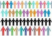 Rows of diverse stick figure symbol people and couples hold hands as borders or lines poster