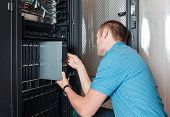 Engineer installs or replace of faulty blade server in chassis, the platform virtualization in the data center server rack poster