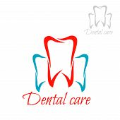 Dentistry emblem and tooth icon. Vector isolated teeth symbols for dentist or stomatology dental care surgeon clinic. Red blue sign of healthy tooth and gum with for stomatologist and odontology, tooth paste or products design poster