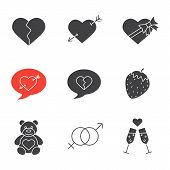 Valentine's Day icons set. February 14 silhouette symbols. Heartbreak, love messages, sex and erotic symbols, champagne, teddy bear, arrow piercing heart, candy box. Vector isolated illustration poster