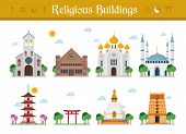 Set of Religious Buildings Vector Illustration: Catholicism Judaism Orthodox Church Islamism Buddhism Taoism and Hinduism. poster