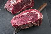 Dry Aged Kobe Rib Eye Steak on a Slate Slab poster