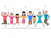 Vector illustration of a cartoon happy people received the money, the prize winnings. Isolated on white background. Happy family won a prize. Falling from above money to people. Flat style. poster