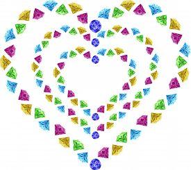 diamonds- hearts Valentine's Day gift holiday, illustration,