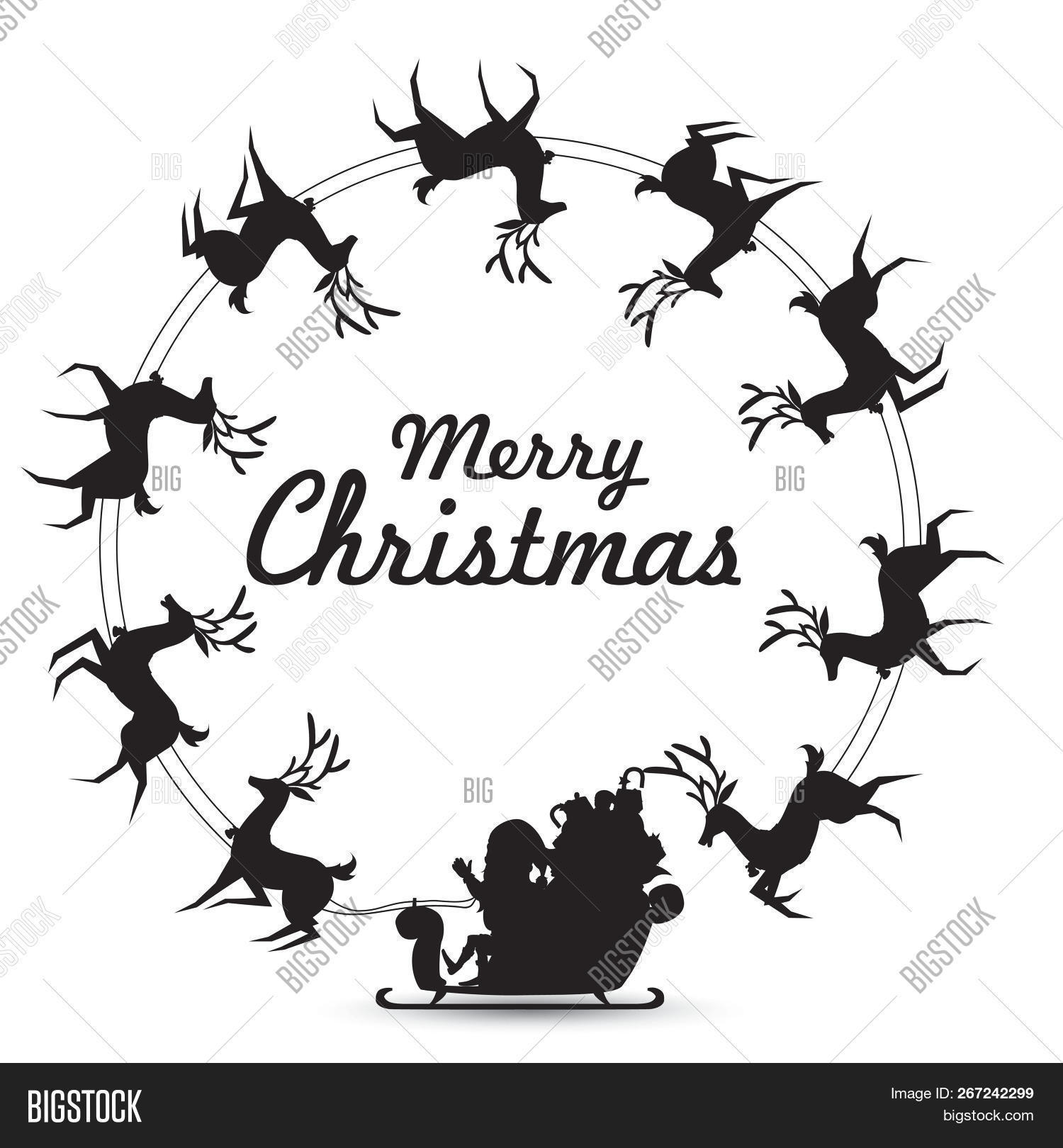 Christmas Wreath Silhouette.Christmas Wreath Image Photo Free Trial Bigstock