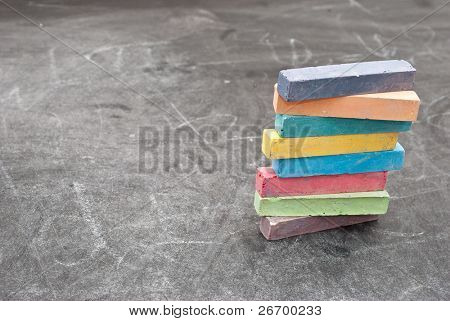 School board with stack colour chalk