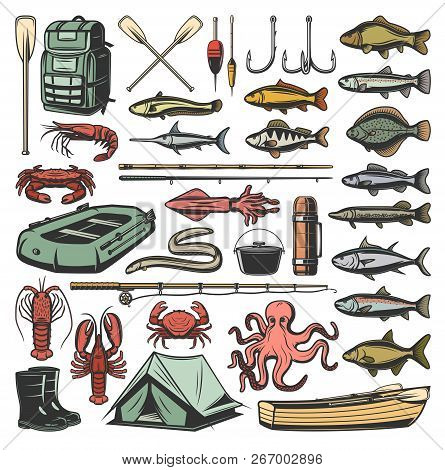 Fishing Sport Vector Icons, Ammunition And Fish. Vector Backpack And Paddle, Hook And Bait, Rod And