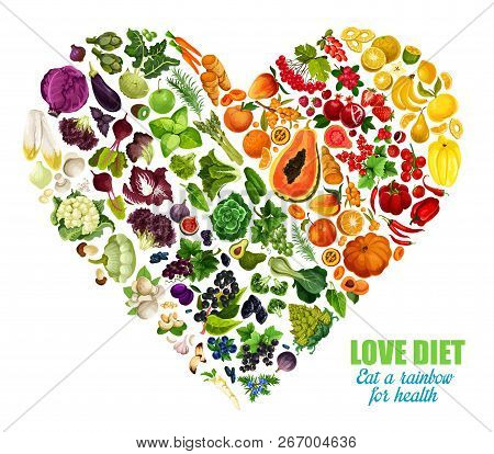 Color Detox Diet Of Vegetables And Fruits, Vector Heart Shape. Motto Eat Rainbow For Health. Benefit