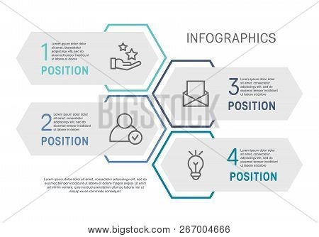 Flat Line Vector Illustration. Infographic Template With Four Elements, Hexagons, Rectangle. Timelin