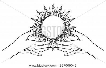 Open Hands With Vintage Sun. Spirituality, Astrology And Esoteric Concept. Black And White Hand Draw