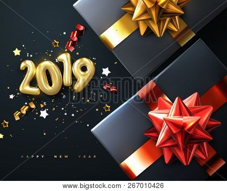 2019. Happy New Year. Gift Boxes With Golden Glossy Bows, Ribbons And Sparkling Tinsel. Vector New Y