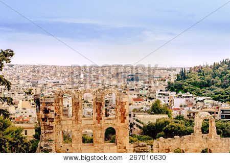 Athenes Panorama, View From The Acropolis, Tourist Place. Greece. Europe