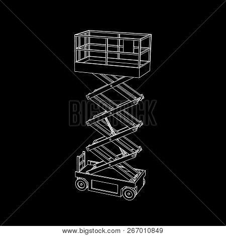 Scissors Lift Platform. Isolated On Black Background. Vector Outline Illustration.