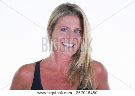 A Beautiful Portrait Forty Years Old Sporty Woman