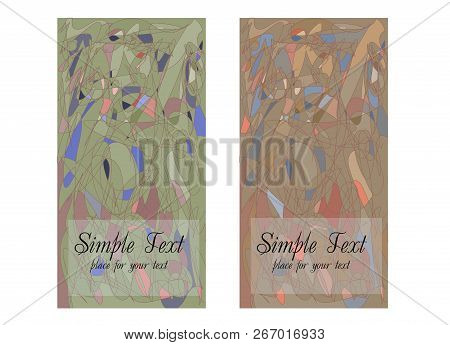Set Of Two Cards With Abstract Geometric Pattern In Cubism