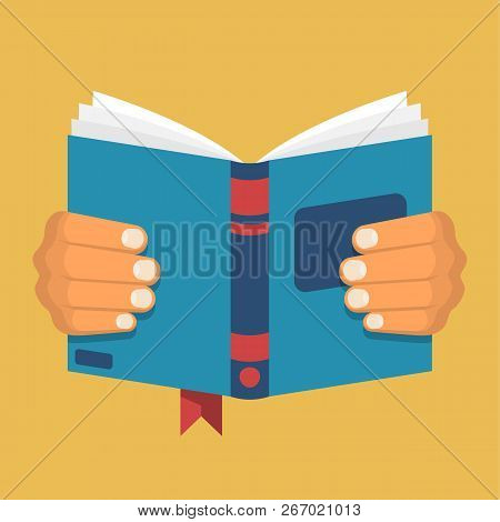 Book Holding In Hand. Man Is Reading A Book. Open Magazine. Learning Literature Cartoon Icon. Vector