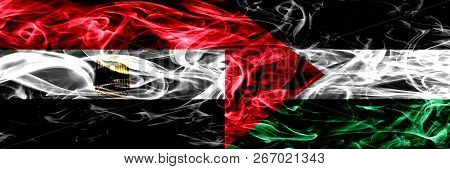 Egypt, Egyptian Vs Palestine, Palestinian Smoke Flags Placed Side By Side. Thick Abstract Colored Si