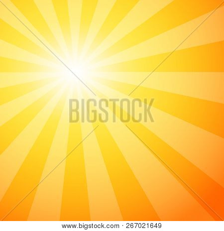 Sunshine. Sunrays Explosion Abstract Background. Closeup View Of Summer Banner For Text Messages. Su