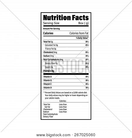 Nutrition Facts Information Label For Box. Daily Value Ingredient Calories, Cholesterol And Fats In