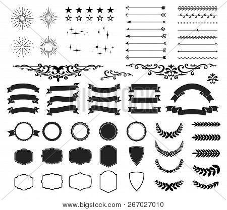 Retro And Vintage Design Collection Set. 64 Elements Arrows, Starbursts, Ribbons, Frames, Labels, Ca