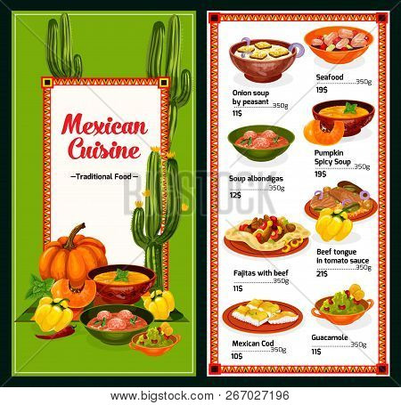 Mexican Cuisine Menu With Dishes From Mexico, Vector. Onion Or Pumpkin Soup And Seafood, Albondigas