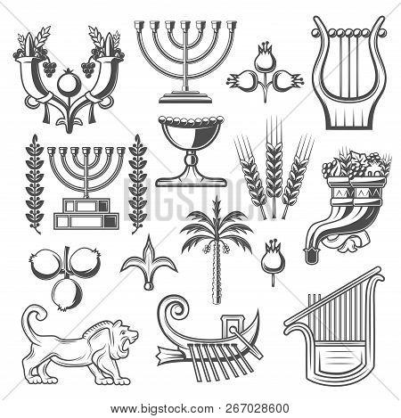 Judaism Symbols Monochrome Vector Icons. Cornucopia And Goblet, Pomegranate And Menorah, Laurel Bran