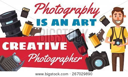 Photographer Creative Profession And Photography. Vector Photojournalist With Digital Camera And Pro
