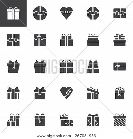 Gift Boxes Vector Icons Set, Modern Solid Symbol Collection, Filled Style Pictogram Pack. Signs, Log