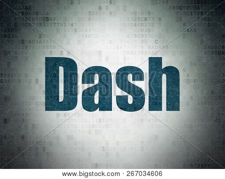 Cryptocurrency Concept: Dash On Digital Data Paper Background