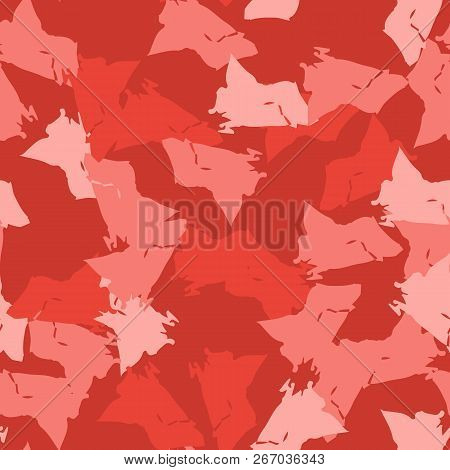 Imitation Of Camouflage - Seamless Pattern In Different Shades Of Red And Pink Colors