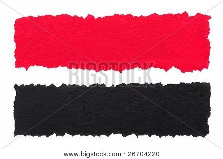 Red and black torn paper
