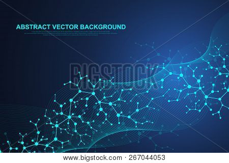 Scientific Molecule Background For Medicine, Science, Technology, Chemistry. Waves Flow. Wallpaper O