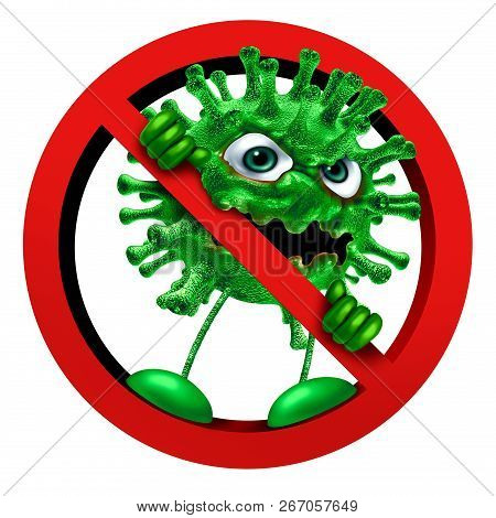 Stop Virus Sign Immunity Symbol As A Pathogen Character In A Ban Or Banned Icon As A Vaccination Or