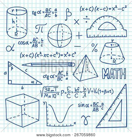 Doodle Maths And Geometry Concept. Trigonometry Functions, Charts And Mathematical Formulas. Vector