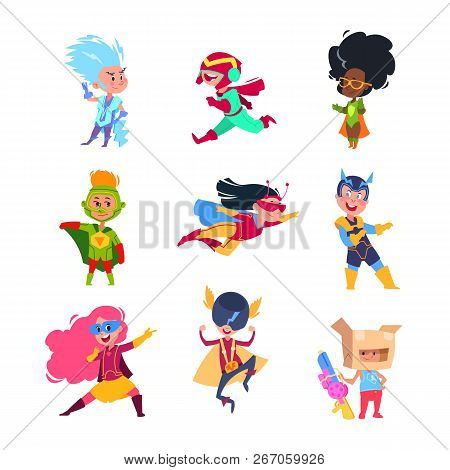 Superhero kids. Children wearing in superheroes costumes. Carton cosplay vector characters set. Illustration of superhero costume for boy and girl poster