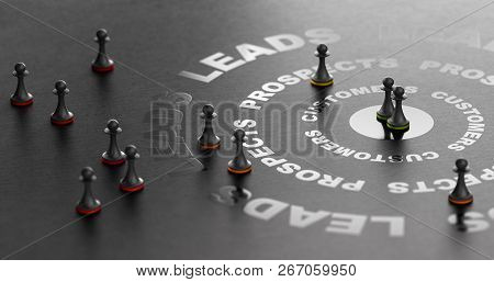 3d Illsutration Of Buying Funnel Over Black Background. Inbound Marketing Concept. Conversion Of Lea