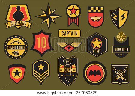 Army Badges. Usa Military Patches And Airborne Labels. American Soldier Chevrons With Typography And
