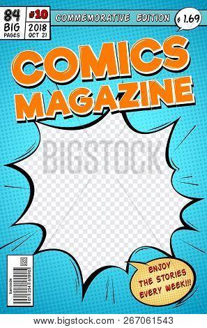 Comic Book Cover. Retro Cartoon Comics Magazine. Vector Template In Pop Art Style. Magazine Cartoon